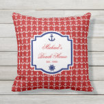 Ship's Anchor Red and Blue Nautical Monogram Outdoor Pillow