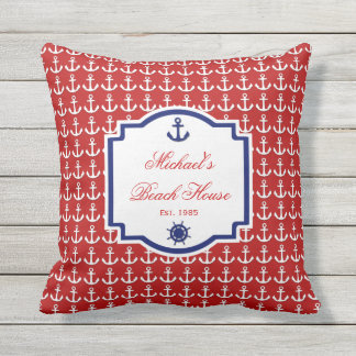Ship's Anchor Red and Blue Nautical Monogram Throw Pillow