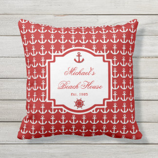 Ships Anchor Red Nautical Monogram Outdoor Pillow
