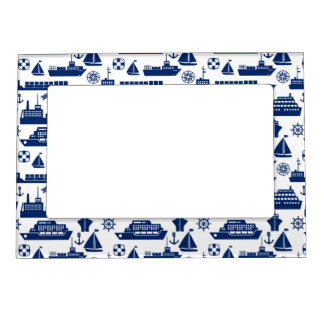 Ships And Boats At Sea Pattern Magnetic Frame