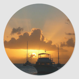 Ships and Sunset Tropical Seascape Classic Round Sticker