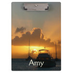 Ships and Sunset Tropical Seascape Clipboard