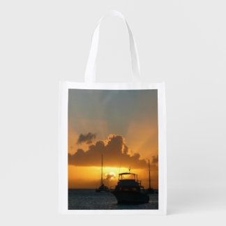 Ships and Sunset Tropical Seascape Grocery Bag