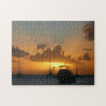 Ships and Sunset Tropical Seascape Jigsaw Puzzle