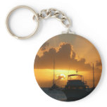 Ships and Sunset Tropical Seascape Keychain