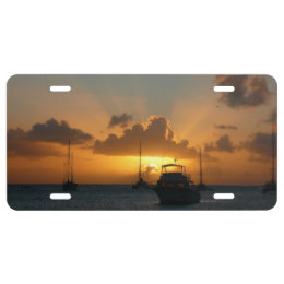 Ships and Sunset Tropical Seascape License Plate