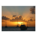 Ships and Sunset Tropical Seascape Photo Print