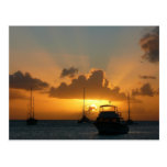 Ships and Sunset Tropical Seascape Postcard