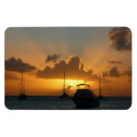 Ships and Sunset Tropical Seascape Rectangular Photo Magnet