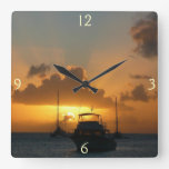 Ships and Sunset Tropical Seascape Square Wall Clock