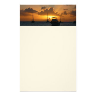 Ships and Sunset Tropical Seascape Stationery