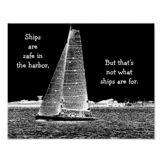 Ships are safe in harbor - nautical art print