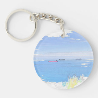 Ships At Sea Acrylic Single Side Round Keychain