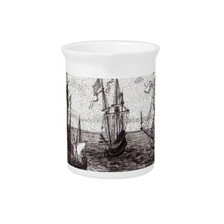 Ships at Sea Beverage Pitcher