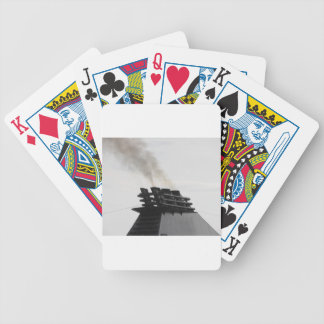 Ships funnel emitting black smoke in the sky bicycle playing cards