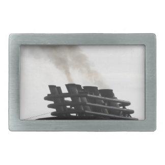 Ships funnel emitting black smoke in the sky rectangular belt buckle