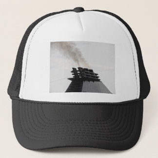 Ships funnel emitting black smoke in the sky trucker hat