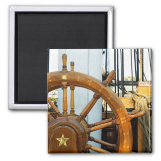 Ship'S Helm | Boston, Ma 2 Inch Square Magnet