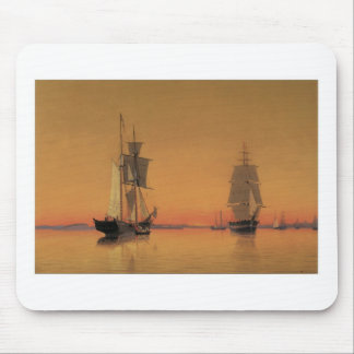 Ships in Boston Harbor at Twilight Mouse Pad