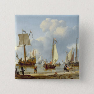 Ships in Calm Water with Figures by the Shore Button