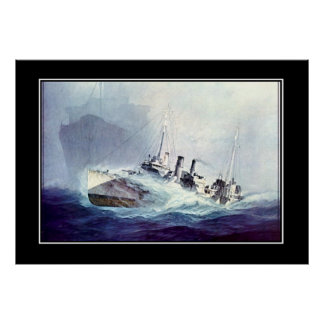 Ships in Critical Situation Vintage Poster