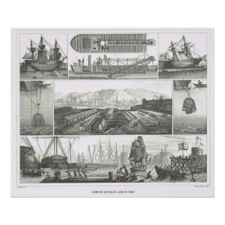 Ships in drydock and in port poster