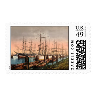 Ships in Hamburg Harbour Germany Stamp