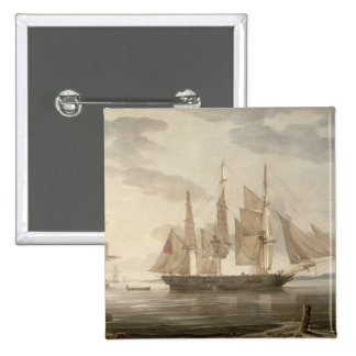 Ships in Harbour, 1805 (oil on canvas) 2 Inch Square Button