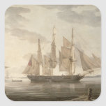 Ships in Harbour, 1805 (oil on canvas) Square Sticker