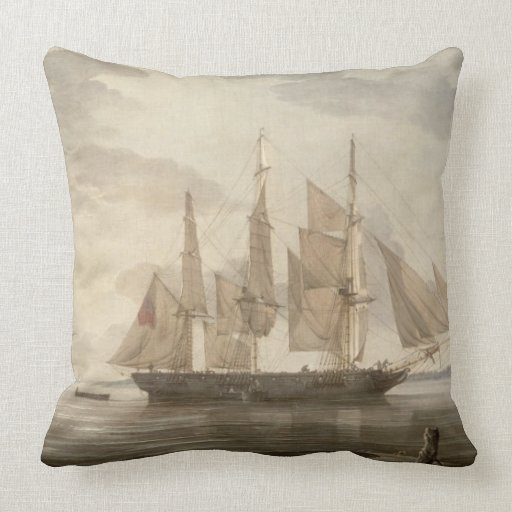 Ships in Harbour, 1805 (oil on canvas) Throw Pillow
