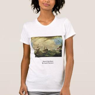 Ships In Sea Storm By Guardi Francesco Tee Shirt