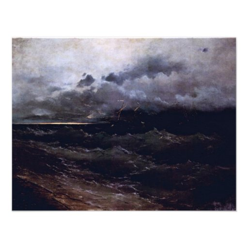 Ships In Stormy Seas Sunrise By Aiwasowskij Iwan K Custom Invitation