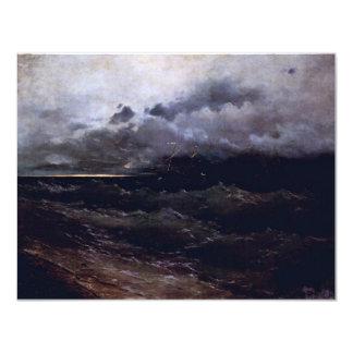 Ships In Stormy Seas Sunrise By Aiwasowskij Iwan K 4.25x5.5 Paper Invitation Card
