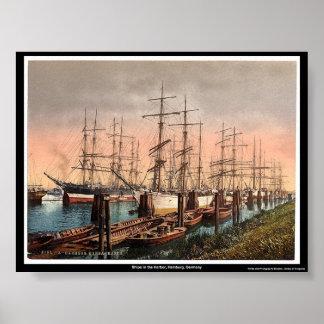Ships in the Harbor, Hamburg, Germany Poster
