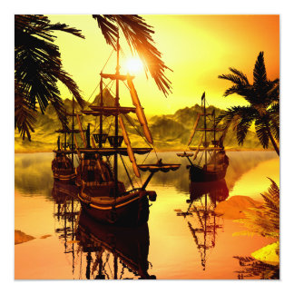 Ships in the sunset 5.25x5.25 square paper invitation card