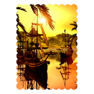 Ships in the sunset 5x7 paper invitation card