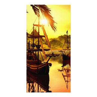 Ships in the sunset photo card