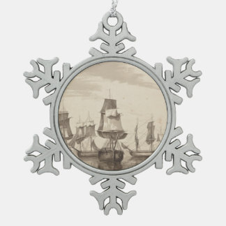Ships of 26th June 1776 Snowflake Pewter Christmas Ornament
