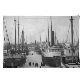 Ships on the Belle River Marine City Michigan Cloth Placemat