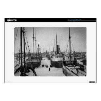 Ships on the Belle River Marine City Michigan Skin For Laptop