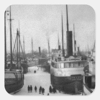 Ships on the Belle River Marine City Michigan Square Sticker