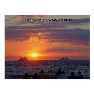 Ships Passing Fall Sunset at Cape May, NJ Postcard