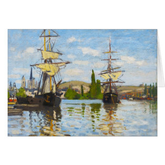 Ships Sailing on the Seine at Rouen Claude Monet Stationery Note Card