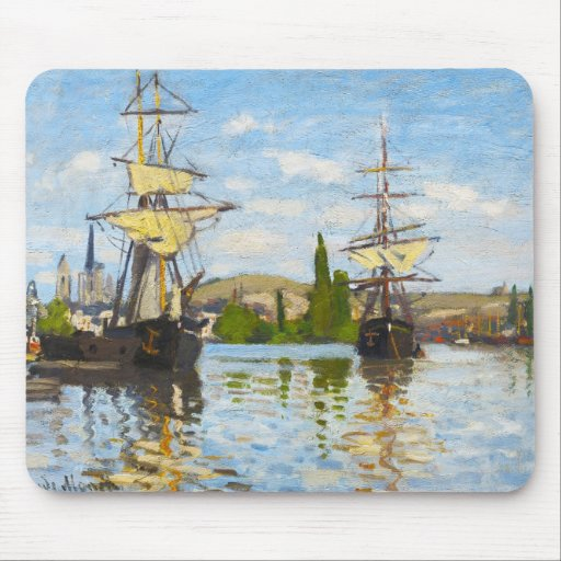 Ships Sailing on the Seine at Rouen Claude Monet Mouse Pad