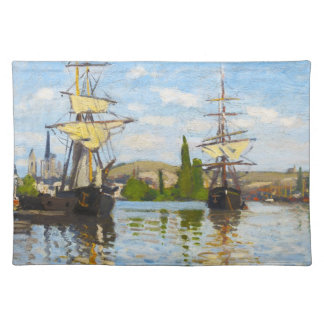 Ships Sailing on the Seine at Rouen Claude Monet Placemats