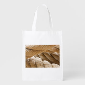 Ships twisted rope. reusable grocery bag