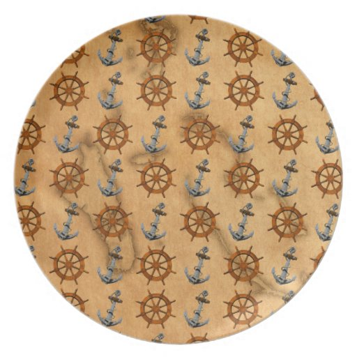 Ships Wheel And Anchor Dinner Plate