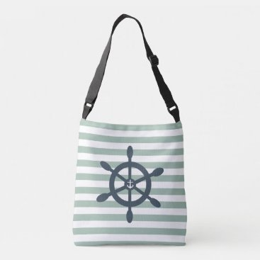 Beach Themed Ships wheel and anchor nautical beach crossbody bag