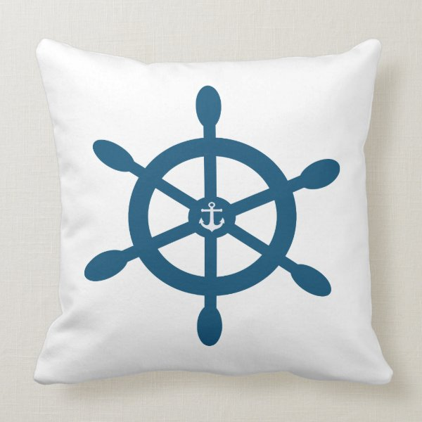 Ships wheel and anchor riversible design on each throw pillow