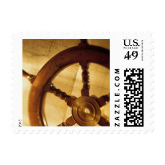 Ship'S Wheel And Map Postage Stamp